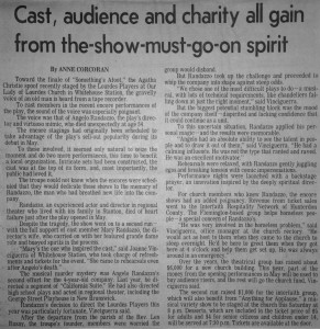 "1992 ""Revenue from ticket sales went to the Interfaith Hospitality Network of Hunterdon County"""